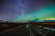 Leinwandbild Motiv Iceland - Aurora borealis (Polarlicht)