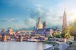 Leinwandbild Motiv Cityscape Of Dresden At Elbe River And Augustus Bridge, Dresden, Saxony, Germany
