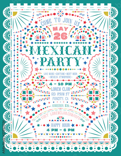 Mexican party announce poster template with paper cut elements