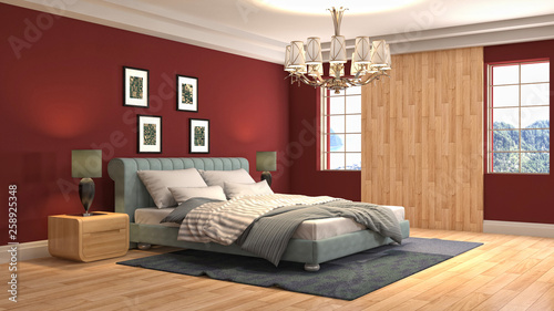 Bedroom interior. 3d illustration - 258925348