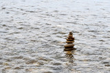 tower of stones in the sea