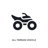 black all terrain vehicle isolated vector icon. simple element illustration from transport-aytan concept vector icons. all terrain vehicle editable logo symbol design on white background. can be use