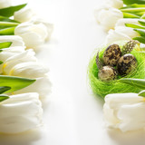 Easter pattern. White tulips, nest, eggs on white.