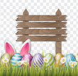Easter background with realistic 3d colorful eggs, wooden white sign, and daisy flowers on transparent backdrop. Vector illustration.