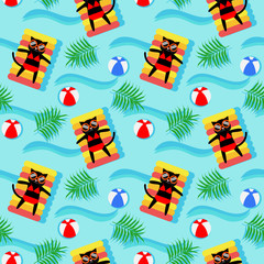 Black cat in swimming pool seamless pattern.