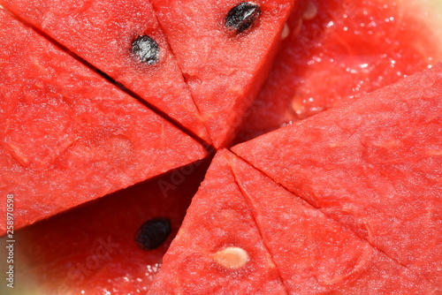 Red melon flesh, cut into sections With patterns and seeds Used as a background image.	 - 258970598