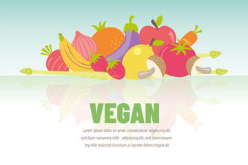Colorful vegan banner with flat vegetable icons. Vector illustration