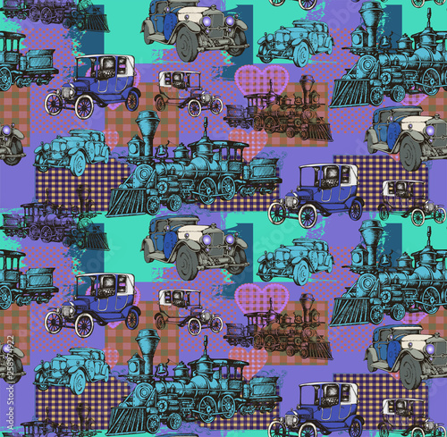 Pattern of vintage train and other items from 1900. Vector illustration. Suitable for fabric, wrapping paper and the like