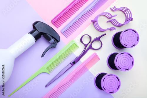 Leinwandbild Motiv Stylish professional barber scissors and combs, hairdresser salon concept, hairdressing tool set. Haircut accessories