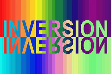 On the rainbow spectral background, the inscription in English - INVERSION filled with the inverse spectrum.