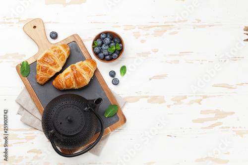 Tea and croissants breakfast © karandaev