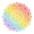 Colorful rainbow ethnic mandala on white background. Circular decorative pattern. - 259003978