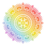 Colorful rainbow ethnic mandala on white background. Circular decorative pattern.