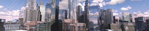 Panorama of a modern city, skyscrapers in the distance, beautiful city - 259015994