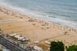 Quadro Aerial top view of People relaxing at Copacabana Beach in Rio de Janeiro, Brazil