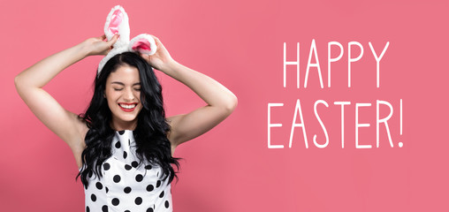 Happy Easter message with young woman with Easter theme