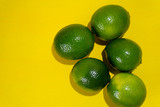 Set of limes on colorful background