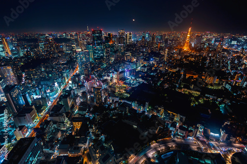 fototapeta na ścianę Aerial view of Tokyo, Japan from Roppongi Hills at night