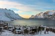 canvas print picture - Ersfjord am Abend
