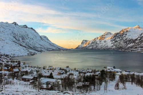 canvas print picture Ersfjord am Abend