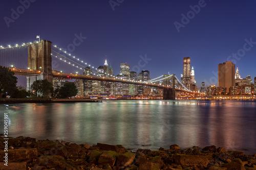 The Brooklyn Bridge and Lower Manhattan Twilight - NYC © alon