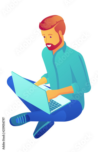 Businessman sitting cross-legged and working at laptop, tiny people isometric 3D illustration. Internet user browsing, freelancer, blogger and developer concept. Isolated on white background.