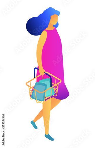 Female shopper walking with shopping basket, tiny people isometric 3D illustration. Shopping daily products, customer and supermarket buyer, consumer and sale concept. Isolated on white background.
