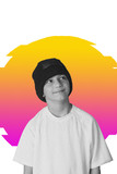 VAPORWAVE STYLE little dancer in hat creatively photo on colored background isolat