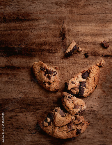 Chocolate chip  cookies on wooden Background, copyspace, top view © nataliazakharova