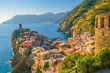 Leinwandbild Motiv View of Vernazza. One of five famous colorful villages of Cinque Terre National Park