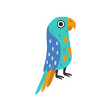 Macaw Parrot Tropical Bird with Colored Feathers and Wings Vector Illustration