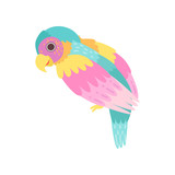 Tropical Parrot Bird with Colored Plumage Vector Illustration