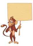 Cute cartoon chempanzee holding blank wooden sign. Vector illustration of a funny monkey with empty wood board