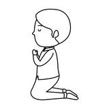 little boy kneeling first communion