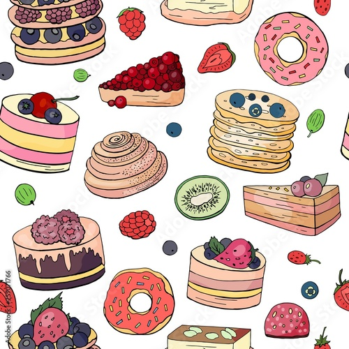 fototapeta na ścianę Seamless pattern with different cakes and pastry on white background.