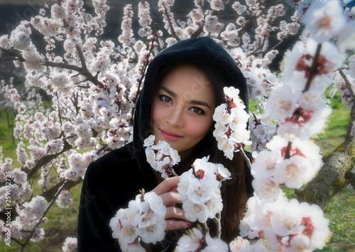 canvas print picture Frühlingsportrait zwischen Marillenblüten