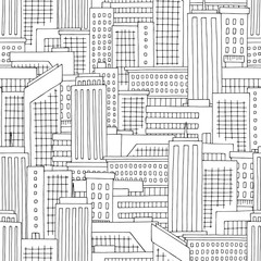 House graphic black white seamless pattern background sketch illustration vector