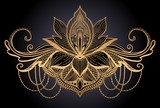 Lotus flower ethnic symbol. Gold gradient color in black background.Tattoo design motif, decoration element. Sign Asian spirituality,norvana and innocence.