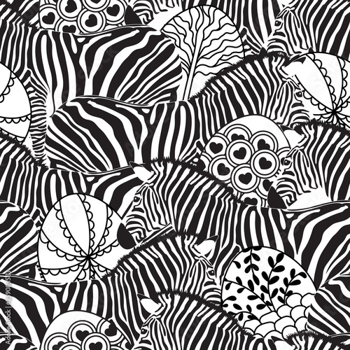 fototapeta na ścianę Zebra seamless pattern with circle shape. Savannah Animal ornament. Wild animal design trendy fabric texture, illustration.