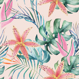 Tropical seamless pattern with orchids and leaves. Watercolor summer print. Exotic floral  hand drawn illustration - 259086105