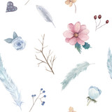 Hand drawn seamless pattern with  feathers and flower. Watercolor illustration - 259086127