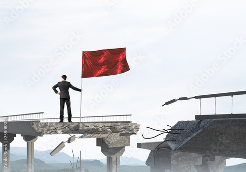 Man with flag presenting leadership concept. - 259088143