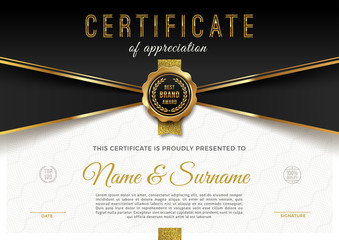 Certificate template with guilloche pattern qnd luxury golden elements. Diploma template design. Vector illustration. © sergo77