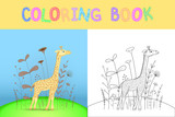 children's coloring book with cartoon animals. Educational tasks for preschool children