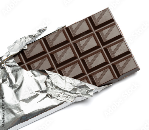 dark chocolate bar isolated white background with clipping path