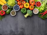 Healthy eating ingredients: fresh vegetables, fruits and superfood. Nutrition, diet, vegan food concept