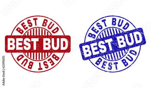 Grunge BEST BUD round stamp seals isolated on a white background. Round seals with grunge texture in red and blue colors. Vector rubber watermark of BEST BUD caption inside circle form with stripes.