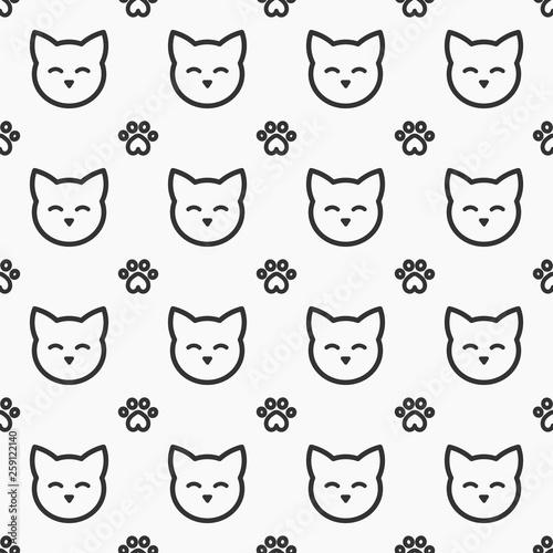 fototapeta na ścianę Cat faces and paws seamless pattern