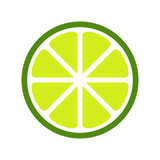 Green lime slice icon.