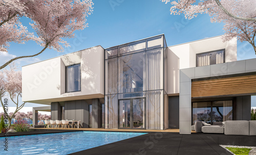 Leinwandbild Motiv 3d rendering of modern cozy house in the garden with garage. Fresh spring day with a blooming trees. For sale or rent with flowers of sakura on background.